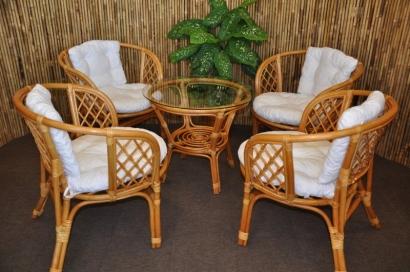 Ratanová sedací souprava Bahama 4+1 medová, polstry bílé