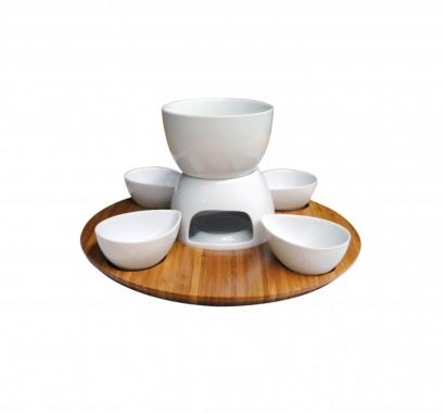 Set fondue keramika + bambus