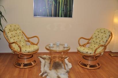 Ratanová souprava Swivel + stolek polstry Oliver
