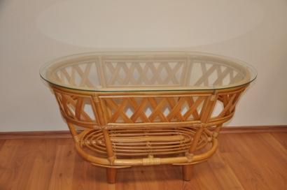Ratanový stolek Copacabana medový se sklem