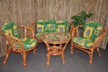 Ratanová sedací souprava Bahama velká cognac zelená