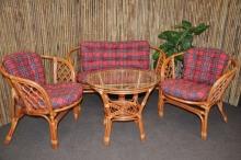 Ratanová sedací souprava Bahama velká cognac červená