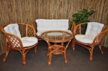 Ratanová sedací souprava Bahama velká cognac bílá
