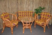 Ratanová sedací souprava Bahama velká cognac okrová