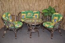 Ratanová sedací souprava Bahama velká hnědá, polstr zelený