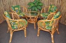 Ratanová sedací souprava Bahama 4+1 medová, polstr zelený