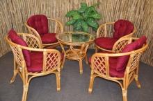 Ratanová sedací souprava Bahama 4+1 medová, polstr vínový