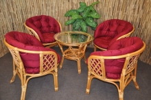 Ratanová sedací souprava Bahama 4+1 medová, polstr MAXI vínový