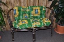 Ratanová lavice Bahama hnědá zelený polstr