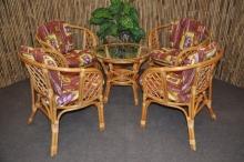 Ratanová sedací souprava Bahama 4+1 medová, polstry hnědý list