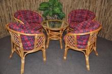 Ratanová sedací souprava Bahama 4+1 medová, polstry MAXI červené