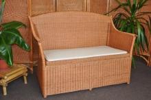 Ratanová lavice s úložným prostorem koňak