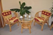 Ratanová sedací souprava Bahama medová malá polstry vínový motiv