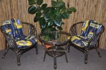 Ratanová sedací souprava Bahama hnědá 2+1, polstr modrý list