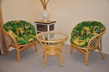 Ratanová sedací souprava bahama malá medová polstr MAXI zelený