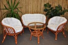 Ratanová sedací souprava Bahama velká cognac bílá MAX