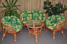 Ratanová sedací souprava Bahama velká cognac zelená MAXI