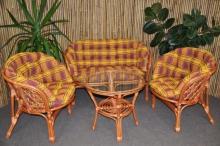 Ratanová sedací souprava Bahama velká cognac okrová MAXI