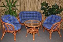 Ratanová sedací souprava Bahama velká cognac modrá MAXI