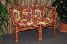 Ratanová lavice Bahama koňak polstr hnědý list
