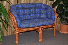 Ratanová lavice Bahama koňak polstr modrý MAXI