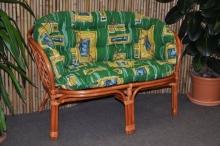 Ratanová lavice Bahama koňak polstr zelený MAXI