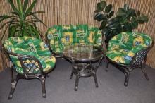 Ratanová sedací souprava Bahama velká hnědá, polstr MAXI zelený