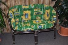 Ratanová lavice Bahama hnědá zelený polstr MAXI