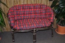 Ratanová lavice Bahama hnědá  polstr červený MAXI