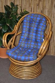 Ratanové houpací křeslo Swivel Brown wash modrý polstr