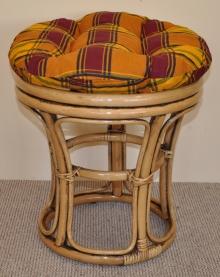 Ratanová taburetka úzká brown wash polstr okrový