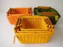 Ratanový košík set 3 varianta zelená