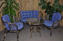 Ratanová sedací souprava Bahama velká hnědá, polstr modrý