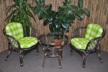 Ratanová sedací souprava Bahama hnědá 2+1, polstr zelená kostka