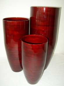 Bambusová váza klasik červená M