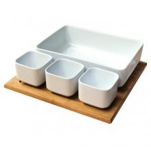Set salátový keramika + bambusový podnos