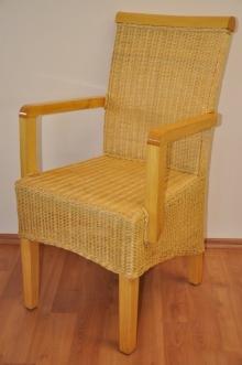 Ratanová židle Larissa medová s područkou
