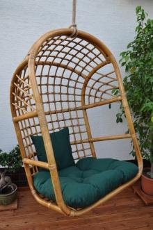Houpačka ratanová závěsná brown wash XL polstr zelený dralon