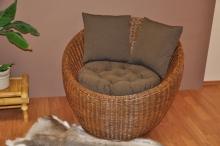 Ratanové křeslo Gentong brown wash s polstrem