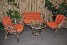 Ratanová sedací souprava Bahama veká hnědá, polstr pískový