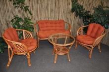 Ratanová sedací souprava Bahama velká cognac polstry pískové