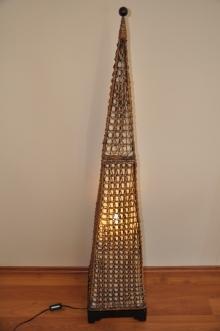 Lampa ratanová vysoká jehlan včetně LED žárovky