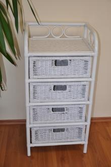 Ratanová komoda 4 zásuvky ratan bílá