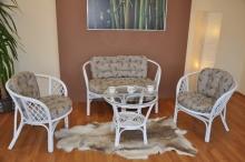 Ratanová sedací souprava Bahama velká bílá, polstr levandule