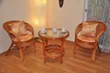 Ratanová sedací souprava Kina 2+1 koňak kulatý stolek