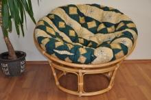 Ratanový papasan 110 cm medový polstr zelený motiv