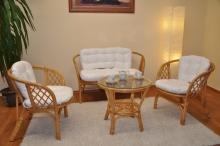 Ratanová sedací souprava Bahama medová velká polstry bílé