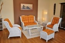 Ratanová sedací souprava Borneo bílá velká polstry oranžové