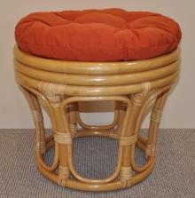 Ratanová taburetka velká medová polstr pískový