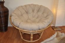 Ratanový papasan 110 cm medový polstr béžový melír